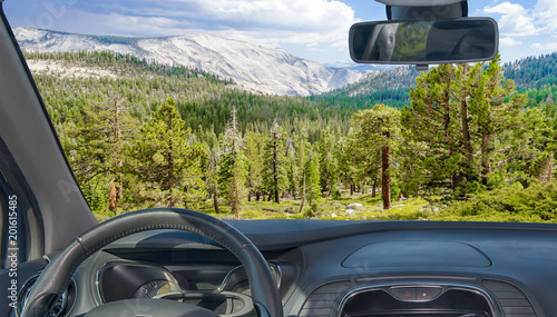 Car windshield with view of Yosemite National Park, USA