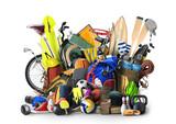 Sports equipment has fallen down in a heap - 201616257