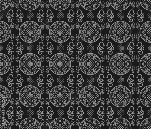 Vector damask seamless pattern. Seamless oriental pattern. Abstract graphic motif. Damask seamless silk. © PETR BABKIN
