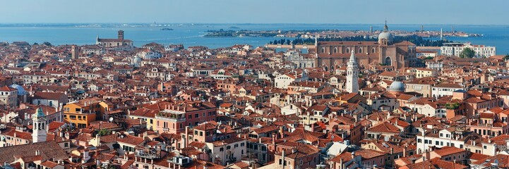 Venice skyline panorama viewed from above