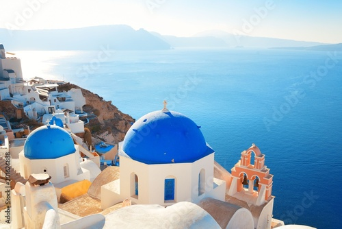 Santorini skyline blue church