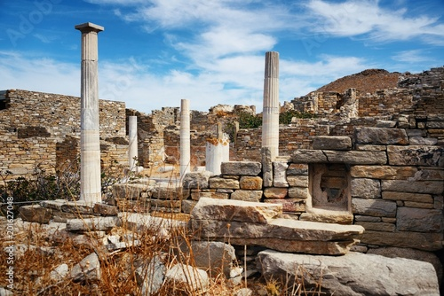 Pillar in Historical Ruins in Delos