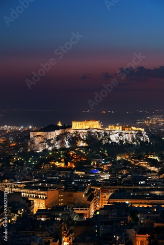 Athens skyline from Mt Lykavitos at night