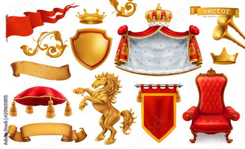 Złota korona króla. Królewskie krzesło, płaszcz, poduszka. 3d zestaw ikon wektorowych