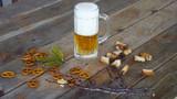 Beer mug on wooden background. - 201640693