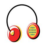 retro headphones icon over white background, pop art style, vector illustration - 201642297