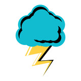 cloud with thunder icon over white background, colorful design. vector illustration