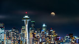 Full moon rises above Seattle skyline, as viewed by night from Kerry Park. - 201647213