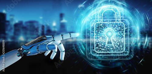 White robot hand securing digital datas 3D rendering © sdecoret