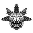 Постер, плакат: Evil scary clown monster with big nose and sharp teeth Horror cartoon illustration isolated on white background Vector