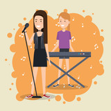 music festival live with women playing piano and sing vector illustration design - 201666247
