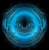 binary circuit board future technology, blue eye cyber security concept background, abstract hi speed digital  - 201671040