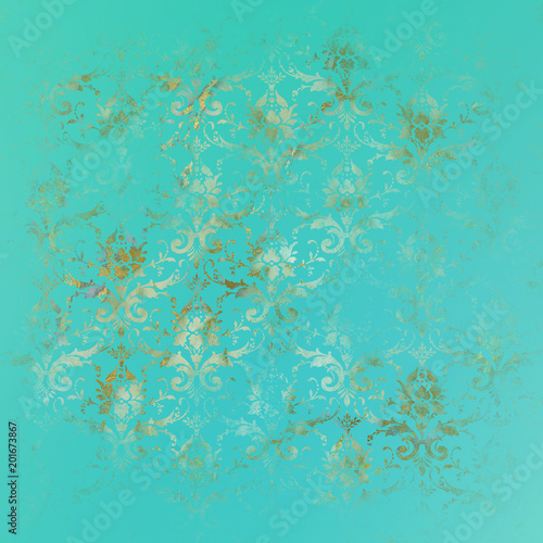 Gradient Damask Pattern Paper Background. - 201673867