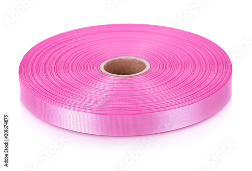 Foto Murales Bright pink ribbons isolated on white background.