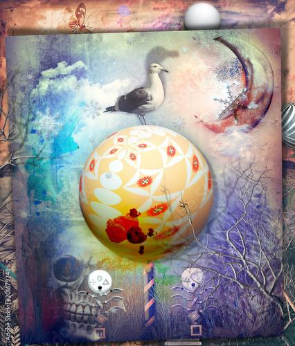 Aluminium Imagination The secret kingdom,enchanted and fairytales countryside with magic mushroom