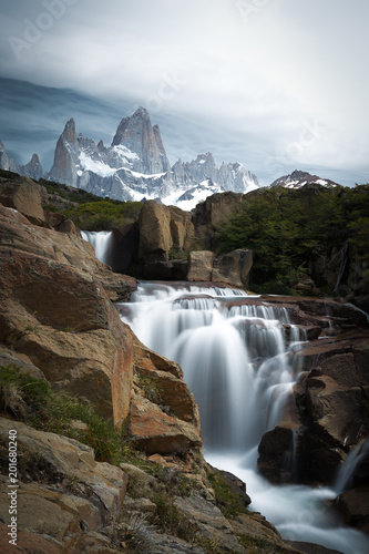 Chorrillo del Salto waterfall and Mount Fitz Roy, mountain in Patagonia, on border between Argentina and Chile. Located in the Southern Patagonian Ice Field near Chaltén. - 201680240