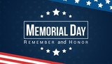 Memorial Day - Remember and honor with USA flag, Vector illustration. - 201682818