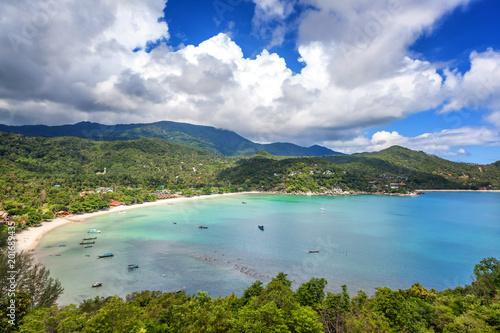 Aluminium Tropical strand Beautiful tropical beach with blue water and green hills, top view. Koh Phangan, Thailand, Ao Thong Nai Pan Noi