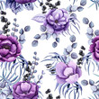 Seamless Pattern of Watercolor Purple Flowers and Blue Leaves - 201693465