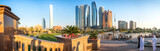 Panoramic view of Abu Dhabi Skyline at sunset, United Arab Emirates