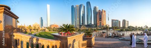Fotobehang Abu Dhabi Panoramic view of Abu Dhabi Skyline at sunset, United Arab Emirates