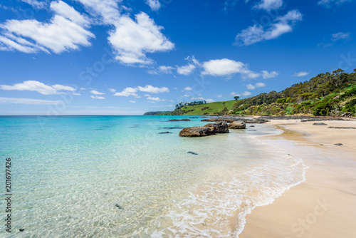 Fotobehang Tropical strand Pretty view to small paradise like town village sandy beach with turquoise blue water and red orange rocks and green shore forest on warm sunny clear sky day, Boat Harbour Beach, Tasmania, Australia