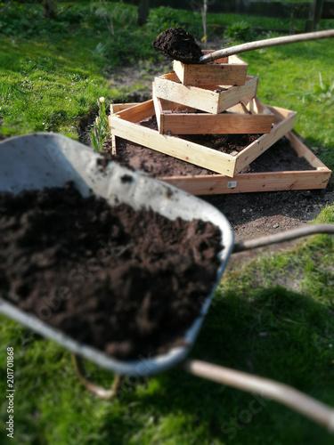 Foto Murales Gartenerde in eine Kartoffelpyramide einbringen