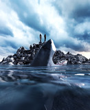 on the reef is the only place to survive,3d illustration of  a person on the reef in the sea far a way with a giant shark in water,3d fantasy art for book cover,book illustration