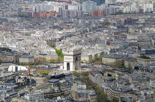 Sticker Aerial view of Paris Cityscape