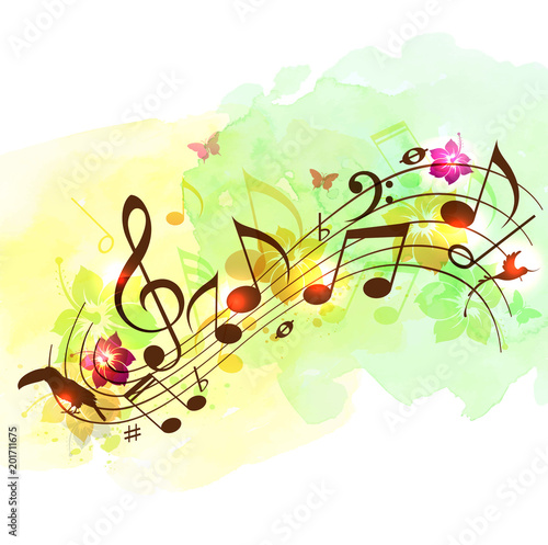 Fotobehang Muziek Abstract music background with notes