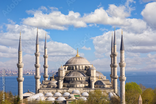 Blue Mosque or Sultanahmet Camii with Bosporus and Marmara Sea, Istanbul