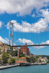 Fatih Sultan Mehmet Bridge (also called the Second Bosphorus Bridge) over the Bosphorus strait in Istanbul, Turkey. Built in 1988 and connecting Europe and Asia