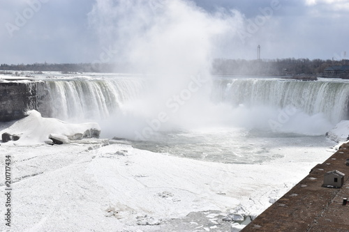Beautiful gigantic frozen Horseshoe Niagara Waterfalls on a frozen spring day in Niagara Falls in Ontario, Canada - 201717434
