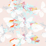 Abstract pattern with butterflies and florals in spring colors - 201717889
