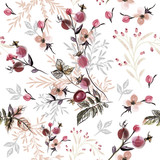 Beautiful pattern or background with wild rose berries and leafs - 201719233