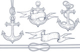 Marine set. Anchor, steering wheel, rope, ribbon banner. Hand drawn sketch