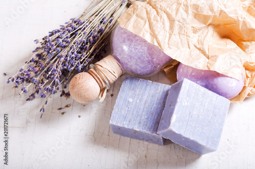 lavender spa products on a wooden table - 201721671