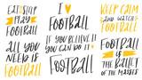 Set of football lover phrases on white
