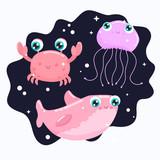 Cute sea animals vector illustration. flat design.
