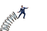 Businessman jumping from spring in promotion concept - 201746883