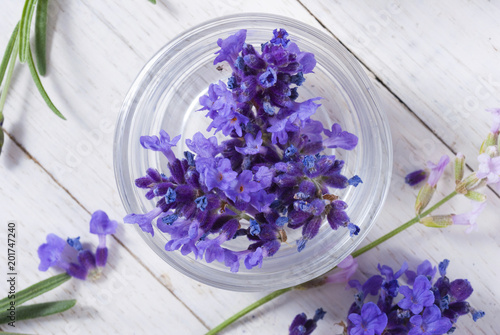 fresh lavender flowers on white wood table background - 201747240
