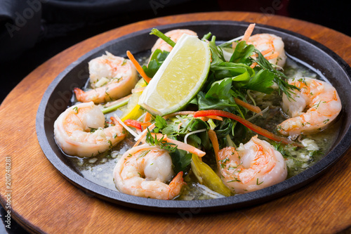 Fried shrimps on a pan