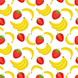Seamless pattern with fruits. Banana and strawberry.  Colorful vector illustration. - 201751880