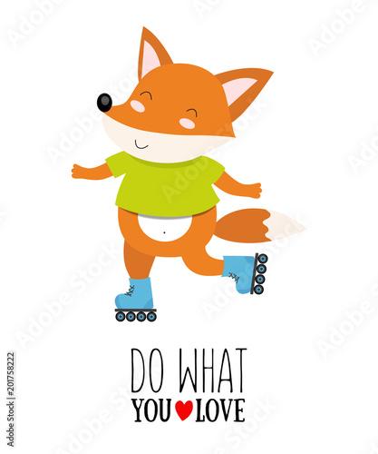 ilustracja-wektorowa-lisa-na-rolkach-z-cytatem-motywacyjnym-rob-to-co-kochasz