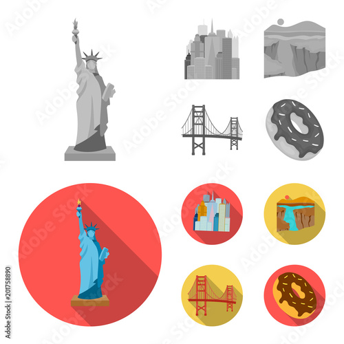 A megacity, a grand canyon, a golden gate bridge,donut with chocolate. The US country set collection icons in monochrome,flat style vector symbol stock illustration web.