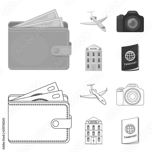 Vacation, travel, wallet, money .Rest and travel set collection icons in outline,monochrome style vector symbol stock illustration web.