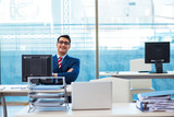 Young handsome businessman employee working in office at desk - 201764673