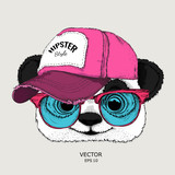 The poster with the portrait of panda in hip-hop cap. Vector illustration
