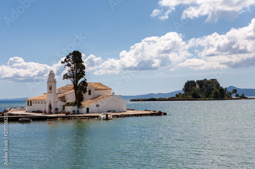 The Panagia Vlacherna Monastery of Panayia with the Mouse Island island (Pontikonissi) in Corfu, Greece