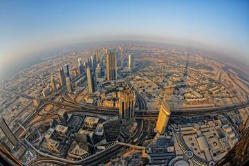 View of Downtown Dubai from Burj Khalifa.